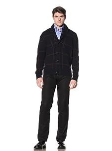 Cruciani Men's Shawl Collar Cardigan (Navy Blue/Brown)