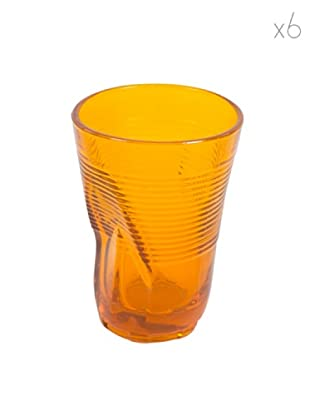 Kaleidos Set 6 Bicchieri Accartocciati 340 ml (Arancio)