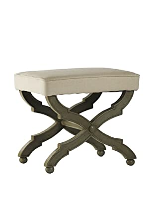 Zentique Crescenzo Single Bench, Off-White/ Olive Green