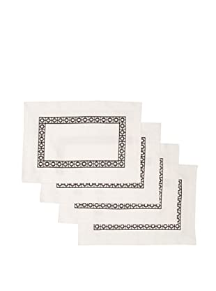 Trina Turk Set of 4 Palm Spring Blocks Embroidered Placemats (Black)