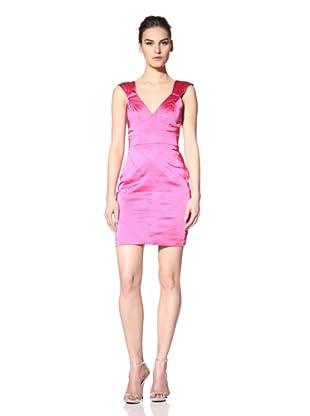 Vera Wang Lavender Women's Seamed V-Neck Dress (Hot Pink)