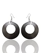 Optionsz Circle Theme Black & White Color Zig Zag Style Desingner Round Shape Elegent Hanging Dangle Earring , OPTERJPAZ214