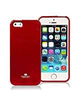 iPhone SE Case, [Low Profile] for Apple iPhone 5SE, [Pearl Glitter] MERCURY® Jelly Case TPU Case [Drop Protection] Ultra Slim TPU Case Cover [Anti-Yellowing / Discoloring Finish] - Red
