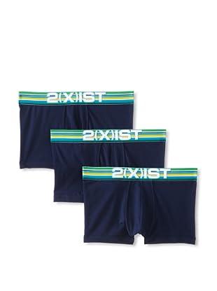 2(X)ist Men's Cabana No Show Trunks - 3 Pack (Varsity Navy)