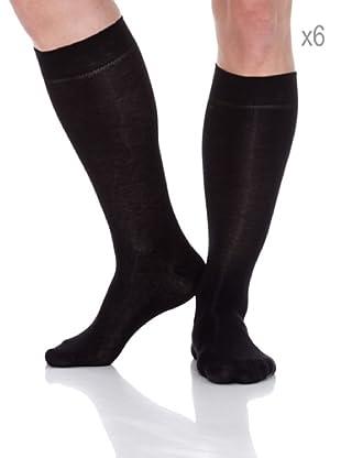 Pierre Cardin Pack x 6 Pares Calcetines Largo Bio Algodón Elastano Puño Anti presión (Negro)