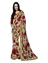 Roop Kashish Georgette Printed Saree Saree(1343_Brown And Red)