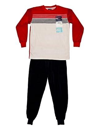 Basket Pijama Velour Cuello Redondo Bordado (Rojo)