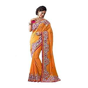 Sri Krishna Silks Embroidered Saree - Brown & Red