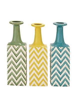 Set of 3 Tall Ceramic Striped Vases, Multi