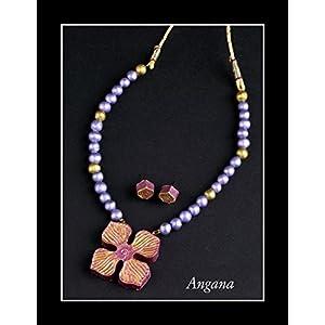 Angana Violet Pink & Golden Combination Set jewellery Set