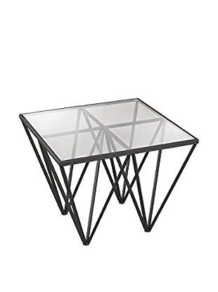 Artistic Geometric Mid Century Side Table, Dark Bronze