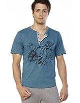 Printed Aqua Blue Henley T Shirt