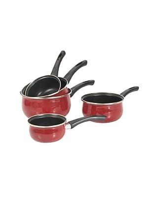 Crealys Set de 5 cazos en acero revestido rojo