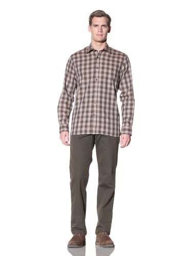 Hickey Freeman Men's Buffalo Check Button-Up Shirt (Brown)