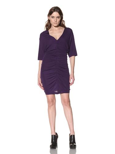 Cut25 Women's Ruched V-Neck Dress (Purple)