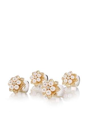 Isabella Adams Set of 4 Freshwater Pearl Napkin Rings with Swarovski Crystals, Gold/Silver