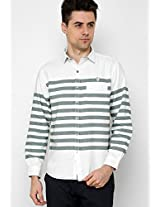White Striped Slim Fit Casual Shirt Scapes