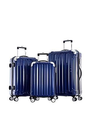 Olympia USA Stanton 3-Piece Polycarbonate Hardcase Spinner Set, Metallic Blue