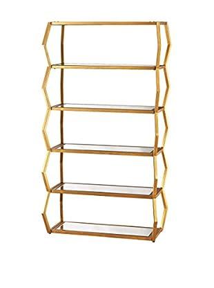 Artistic Anjelica Luxe Bookshelf, Gold Leaf/Clear