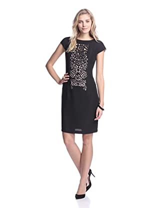 Nue by Shani Women's Laser Cut Crepe Dress (Black/Nude)