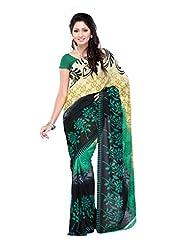 Indian Designer Georgette Black & Brown Printed Saree