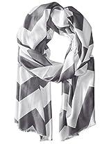 Saro Lifestyle Women's Chevron Design Scarf, Grey, One Size