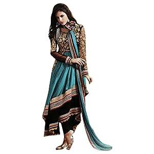 Alluring Blue Chiffon / Georgette Anarkali Salwar Kameez-TBSUETH7275