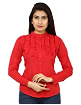 TeeMoods Womens Fancy Shirt_TM-1587RED-M