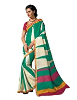 De Marca Green Raw Silk A2406 Saree