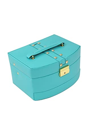 Bey-Berk 3-Level Studded Leather Jewelry Box, Turquoise