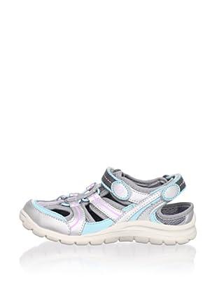 Stride Rite Kid's Bridgette Washable Sandal (Toddler/Little Kid) (Silver/Blue/Petunia)