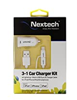 Nextech Apple Certified 2-in-1 MFi Car Charging Kit - 2.4A with Lightning + Micro USB Sync & Charge Cable for iPhone/iPad/Smartphone/Power Bank - USB6K