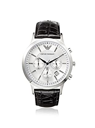 Emporio Armani Men's AR2432 Black/Silver Leather Watch