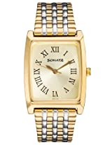 Sonata Wedding Analog Gold Dial Men's Watch - 7008BM02