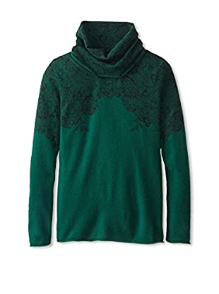 Kier & J Women's Lace Cowlneck Sweater (Emerald/Black Lace)