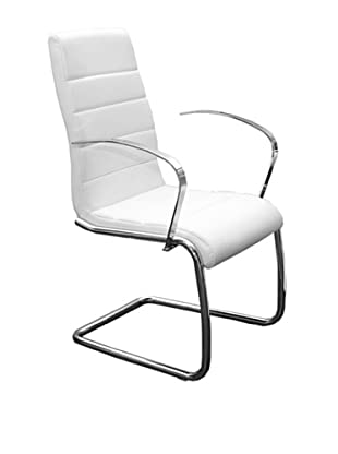 Casabianca Furniture Avenue Arms Dining Chair, White/Chrome