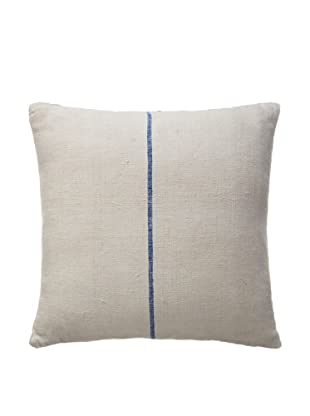 Vintage Hungarian Seed Bag Fabric Pillow, Blue