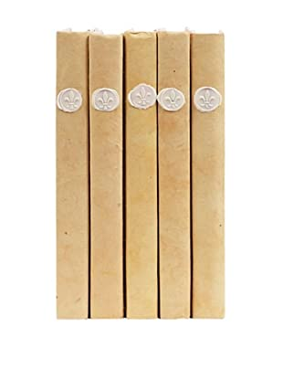 By Its Cover Hand-Rebound Set of 5 Wax Seal On Tan Decorative Books