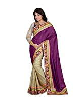 Trynget's Purple & Cream color Half-Half branded Saree