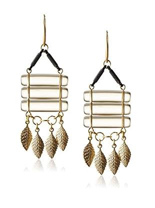 David Aubrey Smoky Glass & Leaf Fringe Earrings