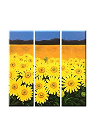 LegendArte  Wandbild 3er Set Sonnenblumenfeld