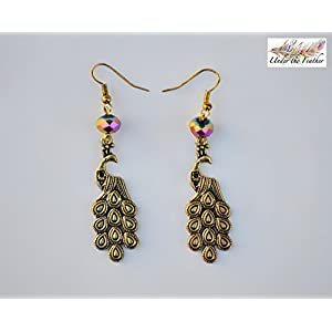 Under the Feather Charm Earrings- Bronze Peacock