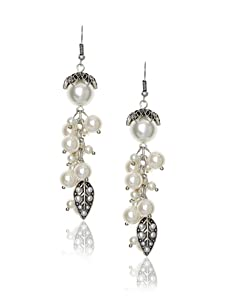 Leslie Danzis Antique Silver Vintage Inspired Pearl Cluster Earrings
