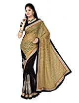 De Marca Black::Beige Faux Georgette M610 Saree