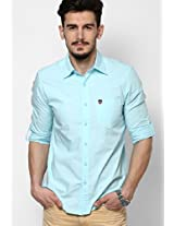 Solid Light Blue Casual Shirt American Swan