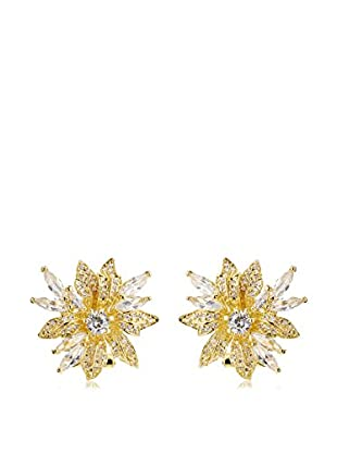 CZ by Kenneth Jay Lane Gold Floral Spray CZ Post Earrings
