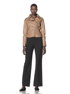CoffeeShop Women's Faux Leather Moto Jacket (Chestnut)