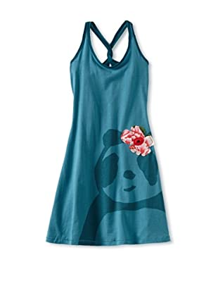 Zolima Panda Girl's Dress with Appliqué (Mediterranean Blue)