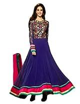 Inddus Exclusive Women Stylish Blue Georgette Floor Length Semi-Stiched Salwar Kameez.