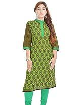 Shop Avenue Women's Cotton Regular Fit Kurti (WGS07098, Green, X-Large)
